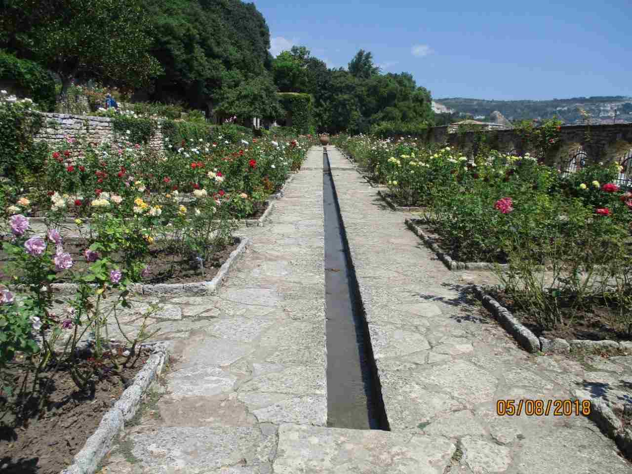Long rill running through the large rose garden heading towards the Temple of Water.