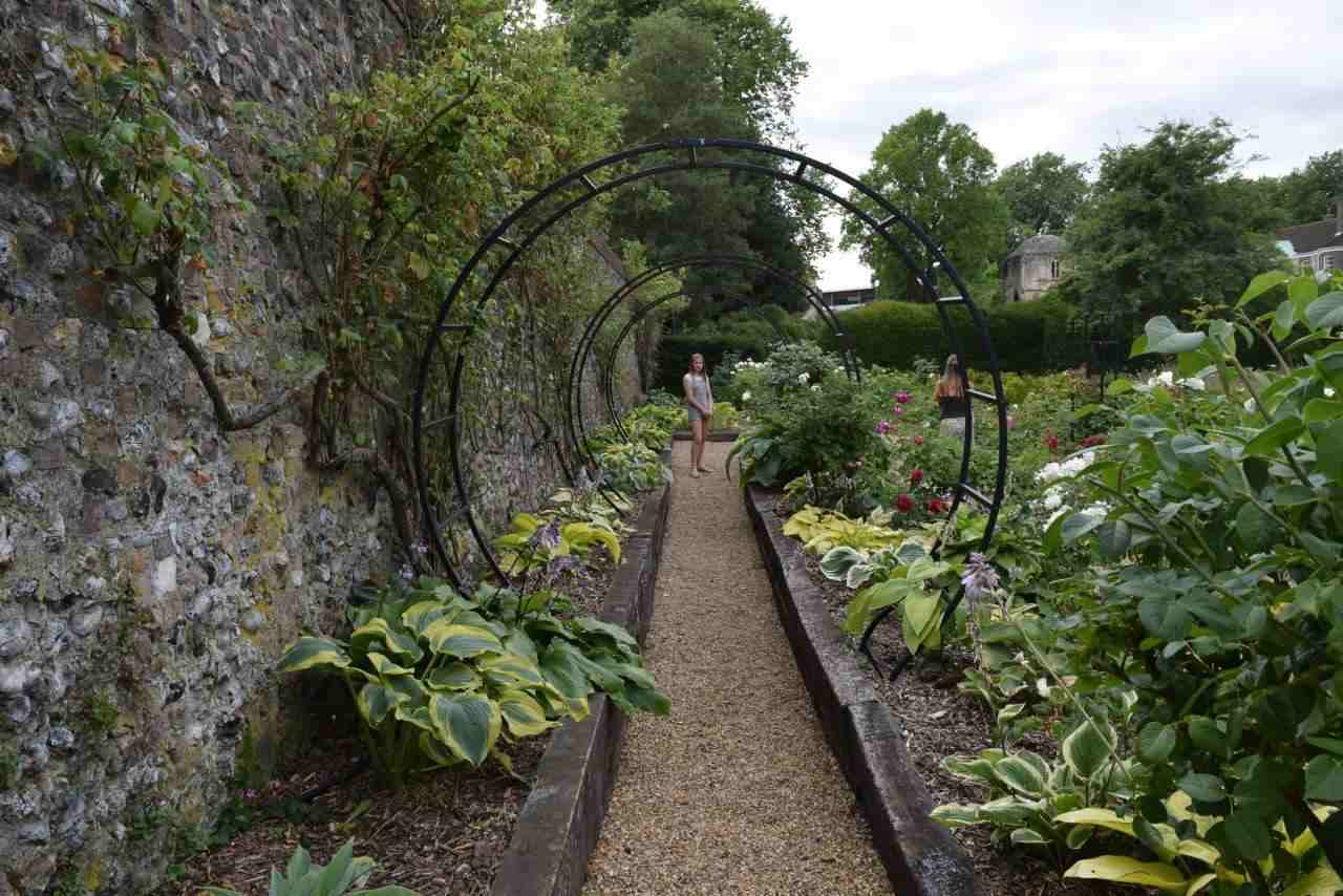 The shade walk next to the main wall with hostas