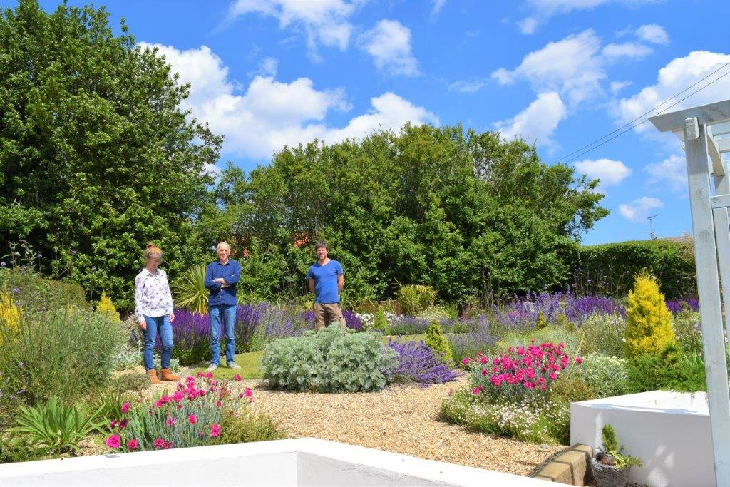 Richard Walters and Clients in their new Mediterranean garden