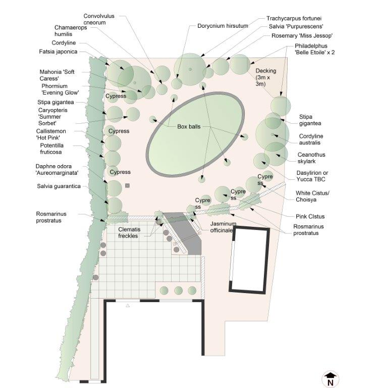Proposed planting plan for the Mediterranean garden at Bodham