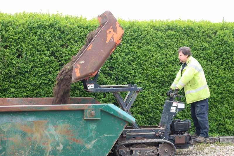 Richard Walters emptying the skip dumper