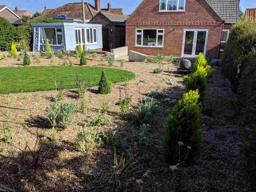 Bodham garden transformed into a Mediterranean paradise showing lawn and Cypress trees