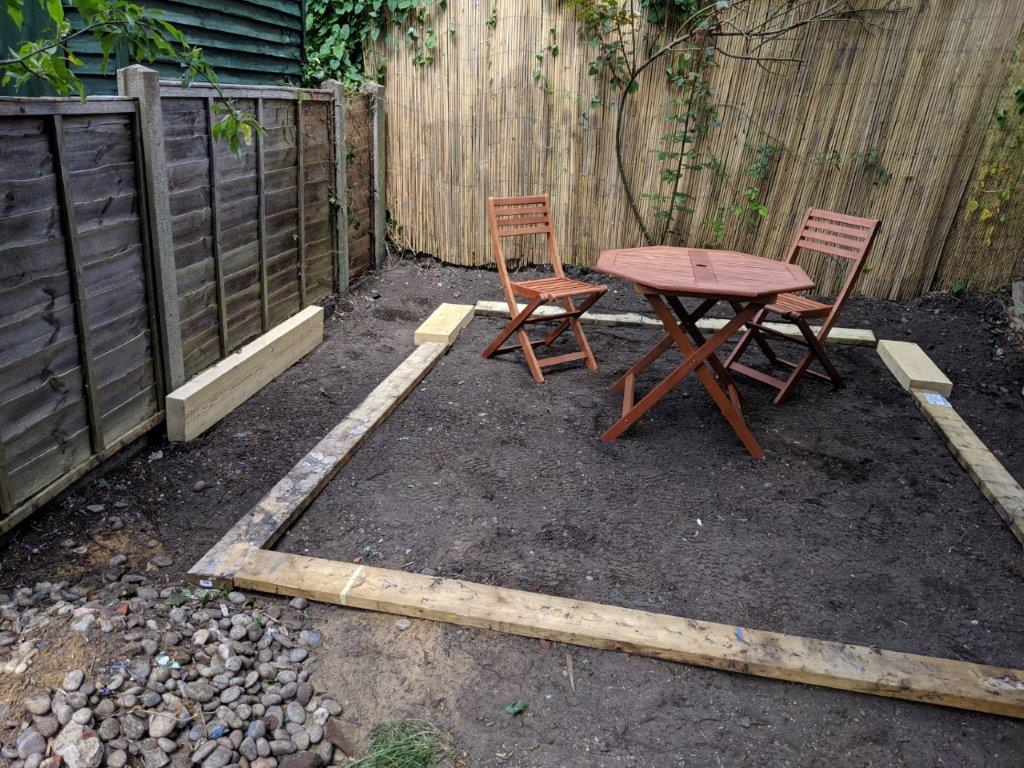 Setting out eh size and position of the patio