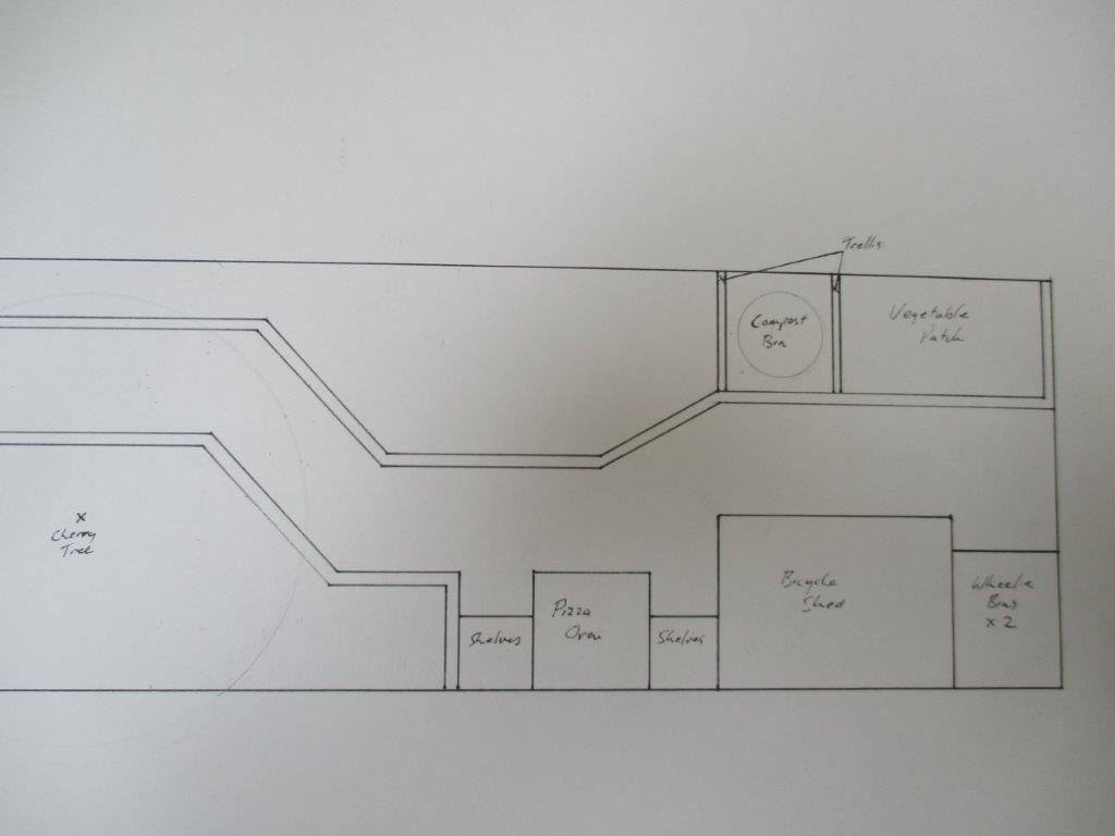 Plan view of the basic gardne layout showing hardscape features such as pizza oven, bike shed and bin stores