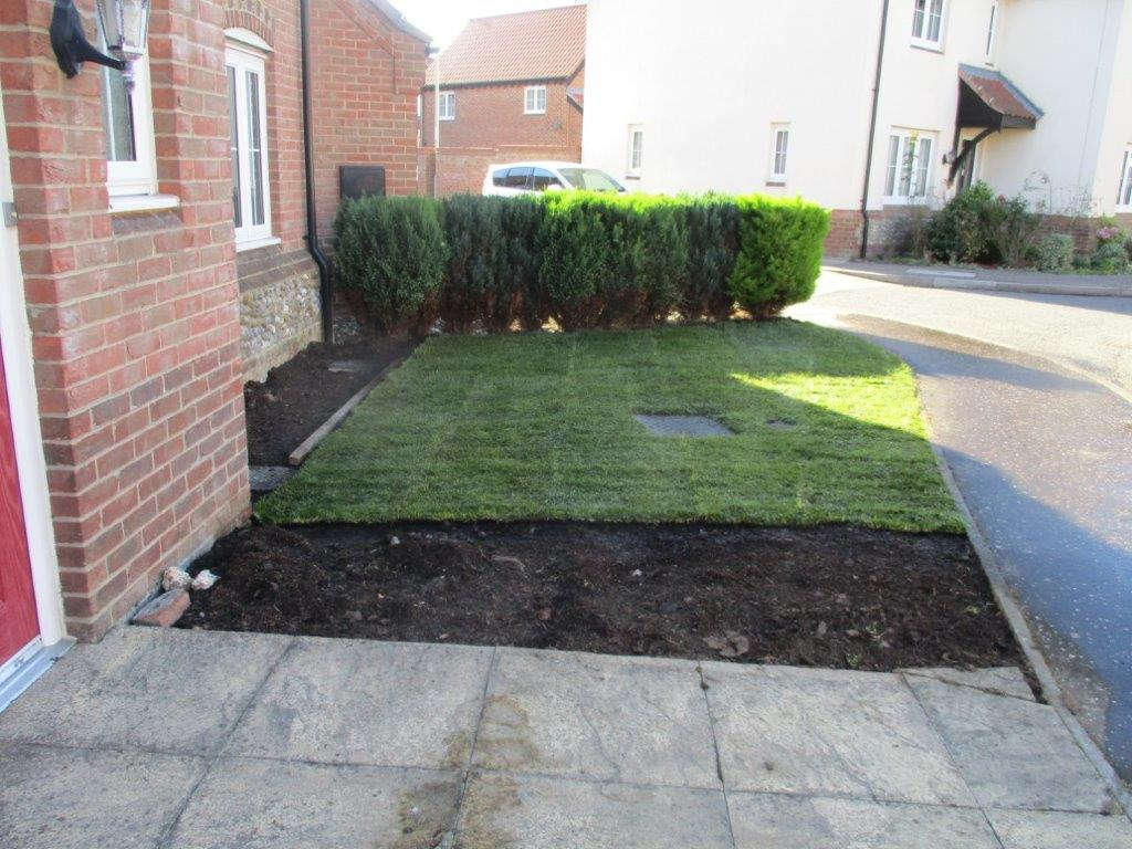 Front garden installation in progress
